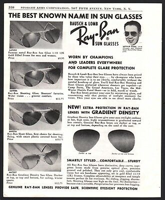 1951 RAY-BAN Sunglasses Shooting Glasses Bausch & Lomb AD 4 styles shown w/price
