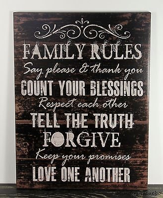 PRIMITIVE COUNTRY BLACK WOOD FAMILY RULES SIGN HANDMADE INSPIRATIONAL DECOR -
