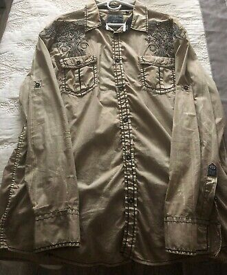 Roar Signature Beige Shirt Sz XX Large Long Sleeve Button Full back Embroidery