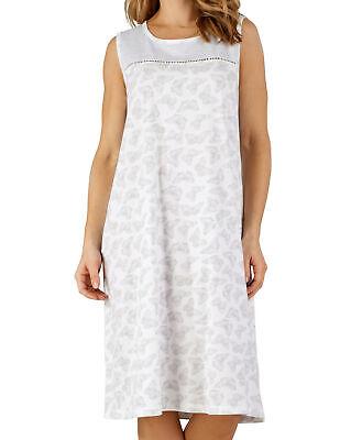 Butterfly Sleeveless Jersey (Nightdress Slenderella Jersey Cotton Womens Butterfly Design Sleeveless Nighty)