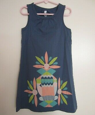 6 Graphic Designs - Tea Collection 6 Blue LaPointe Graphic Dress Sleeveless Designer Lisa Girls