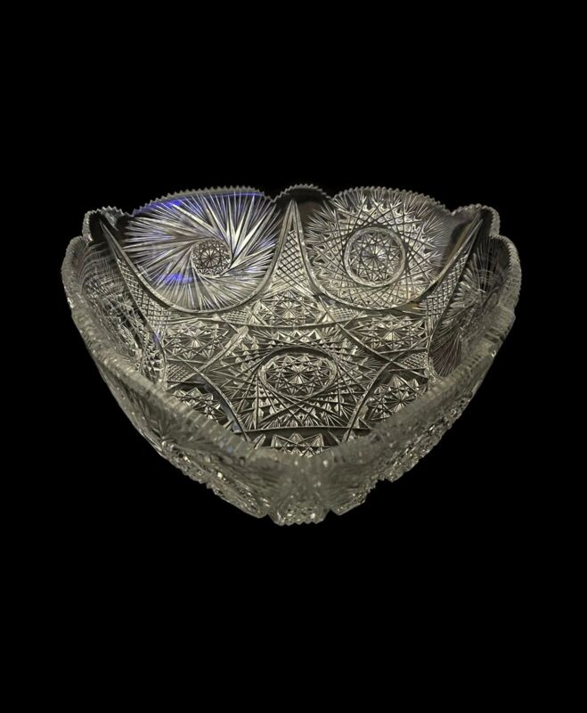"11 1/2"" Signed Libbey American Brilliant Cut Glass Triangular Serving Bowl"