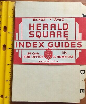 Lot Vintage Alphabet Index Tabs Dividers 4 X 6 Herald Square Guides Index Card