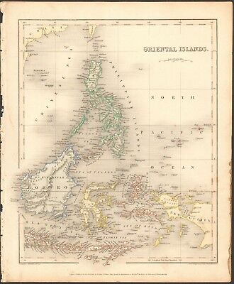 1840 ca ANTIQUE MAP - ORIENTAL ISLANDS, PHILIPPINES, BORNEO, CELEBES, SUMATRA
