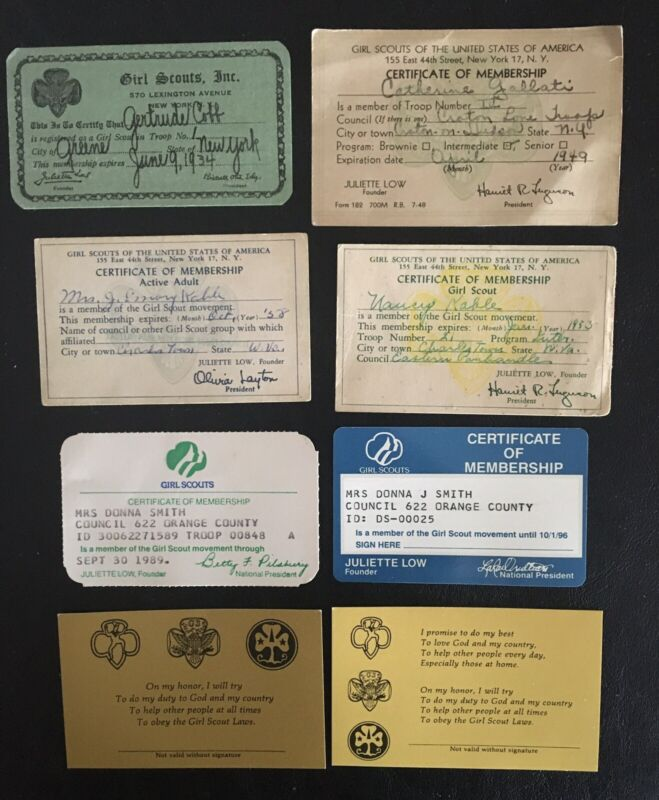 8 DIFFERENT Vintage Girl Scout MEMBERSHIP CARDS-VARIOUS YEARS-1934-1996