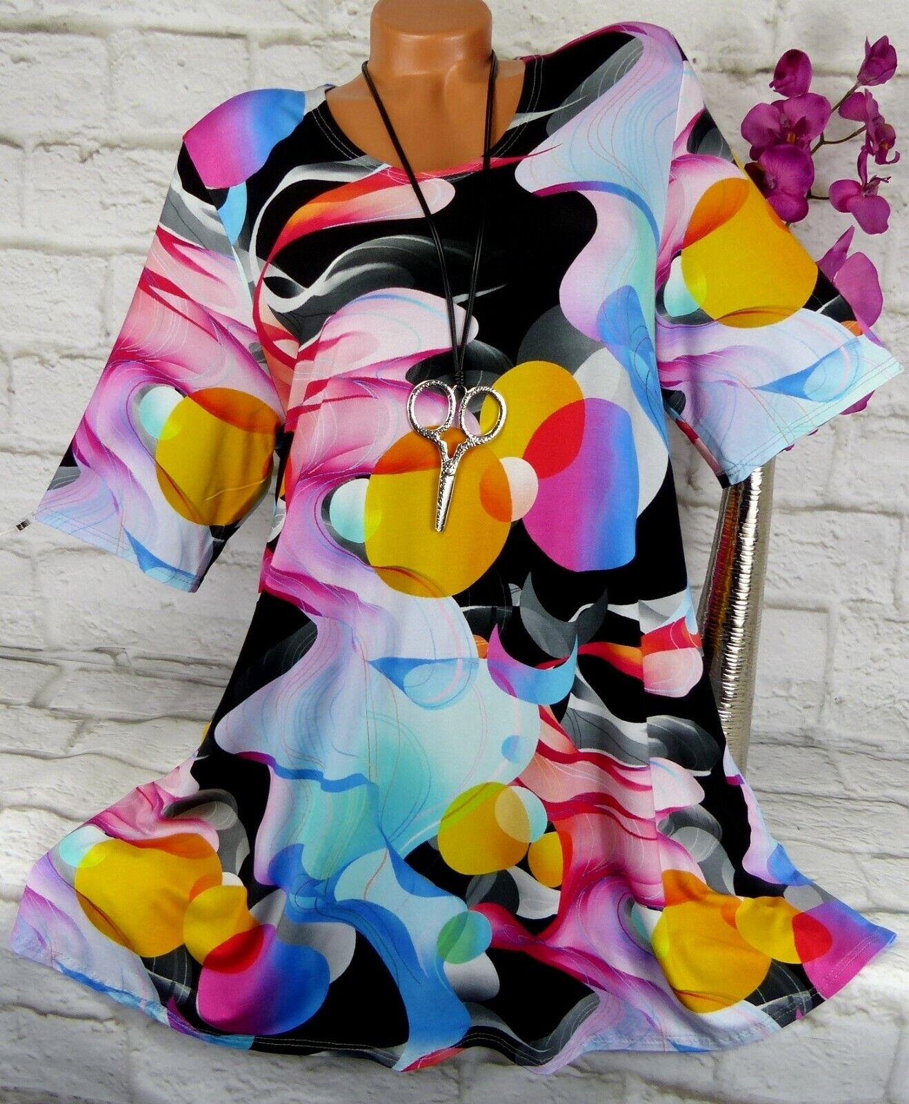 New York Designer Tunika Bluse Shirt Lagenlook A-Linie Longshirt Bunt 3) 50 52
