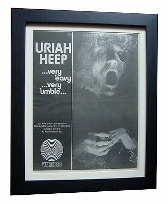 URIAH HEEP+Very Eavy Umble+RARE ORIGINAL 1970 POSTER AD+FRAMED+FAST GLOBAL SHIP