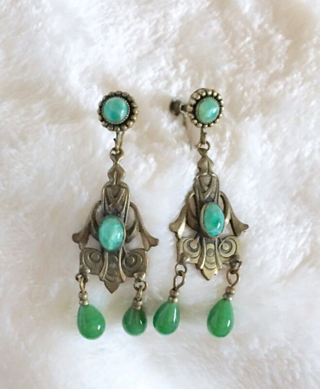 BEAUTIFUL ART DECO ERA CZECH PEKING GLASS DANGLE EARRINGS