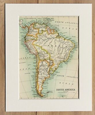 c.1900 Antique Small Colour Map - South America Continent - Mounted