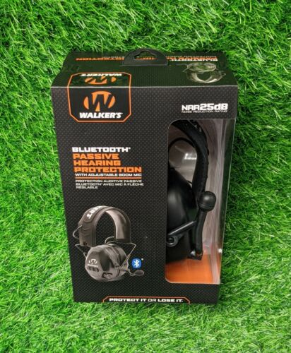 Walkers Bluetooth Passive Hearing Protection, Mic, 25 dB, Black - GWP-BTPAS