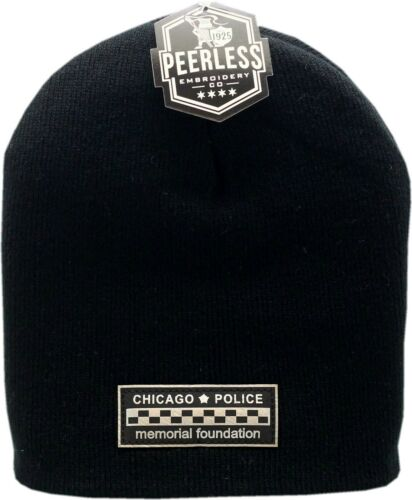 CPD Memorial Skull Knit Hat Bar Patch Metallic Black