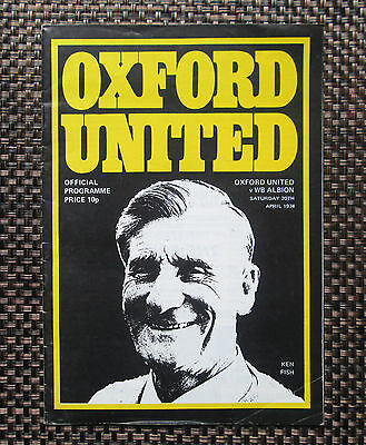 OXFORD UNITED v WEST BROMWICH ALBION OFFICIAL PROGRAMME 1974