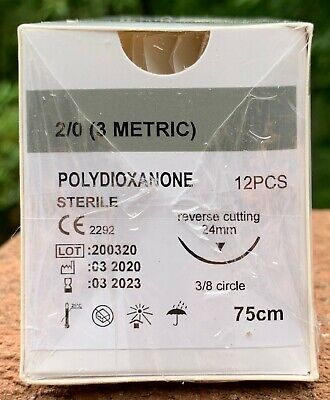 Veterinary Surgical Suture 20 Pdspdo 12ct Polydioxanone Reverse Cutting 24 Mm