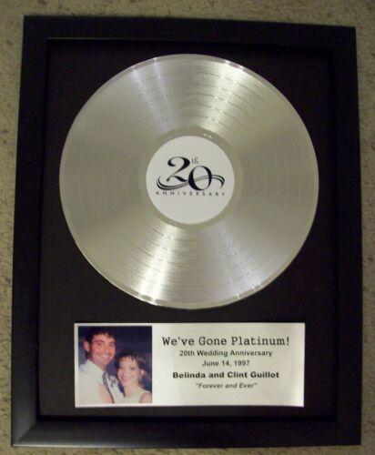 20th Anniversary Wedding Gift Platinum Silver LP Record Album Custom Plaque