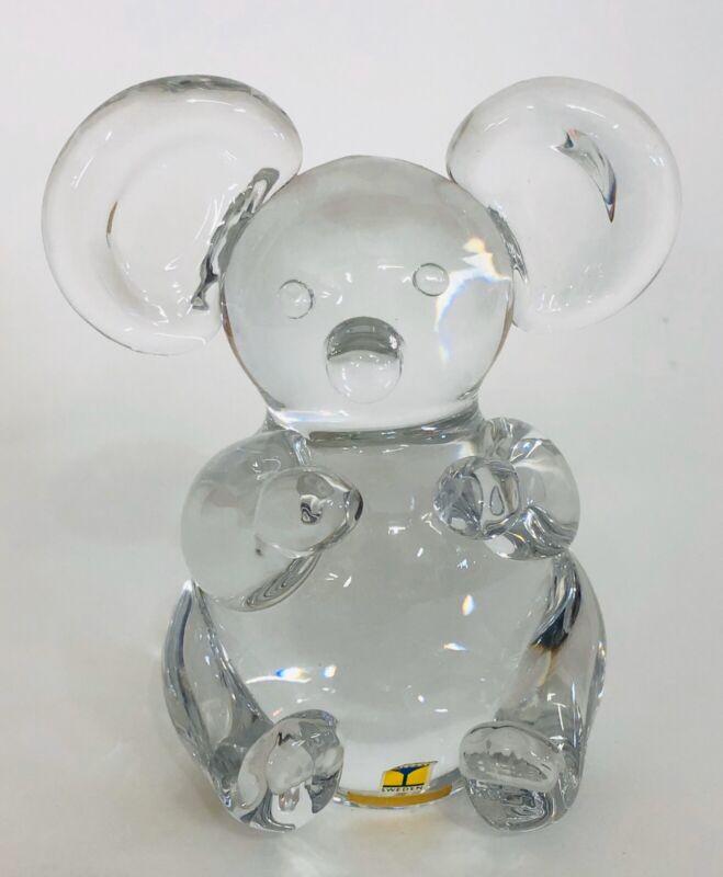 "Vintage Maleras Sweden Crystal Art Glass Koala Bear Paperweight Figurine 5"""