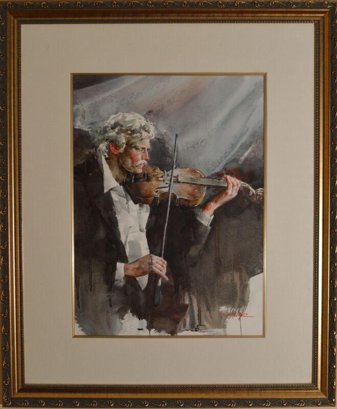 Stunning Original Gunbae Kim Watercolor Of Violinist Framed & Matted Beautiful!!