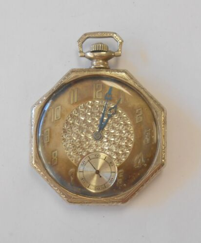 Antique Abra Watch Co 14K White Gold Swing Out Morays Case Pocket Watch 17J