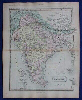 INDIA, 'HINDOSTAN', original antique atlas map, Samuel Butler 1860