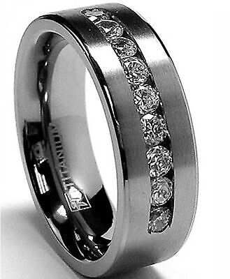 8 MM Men's Titanium ring wedding band with 9 large Channel Set Cubic -