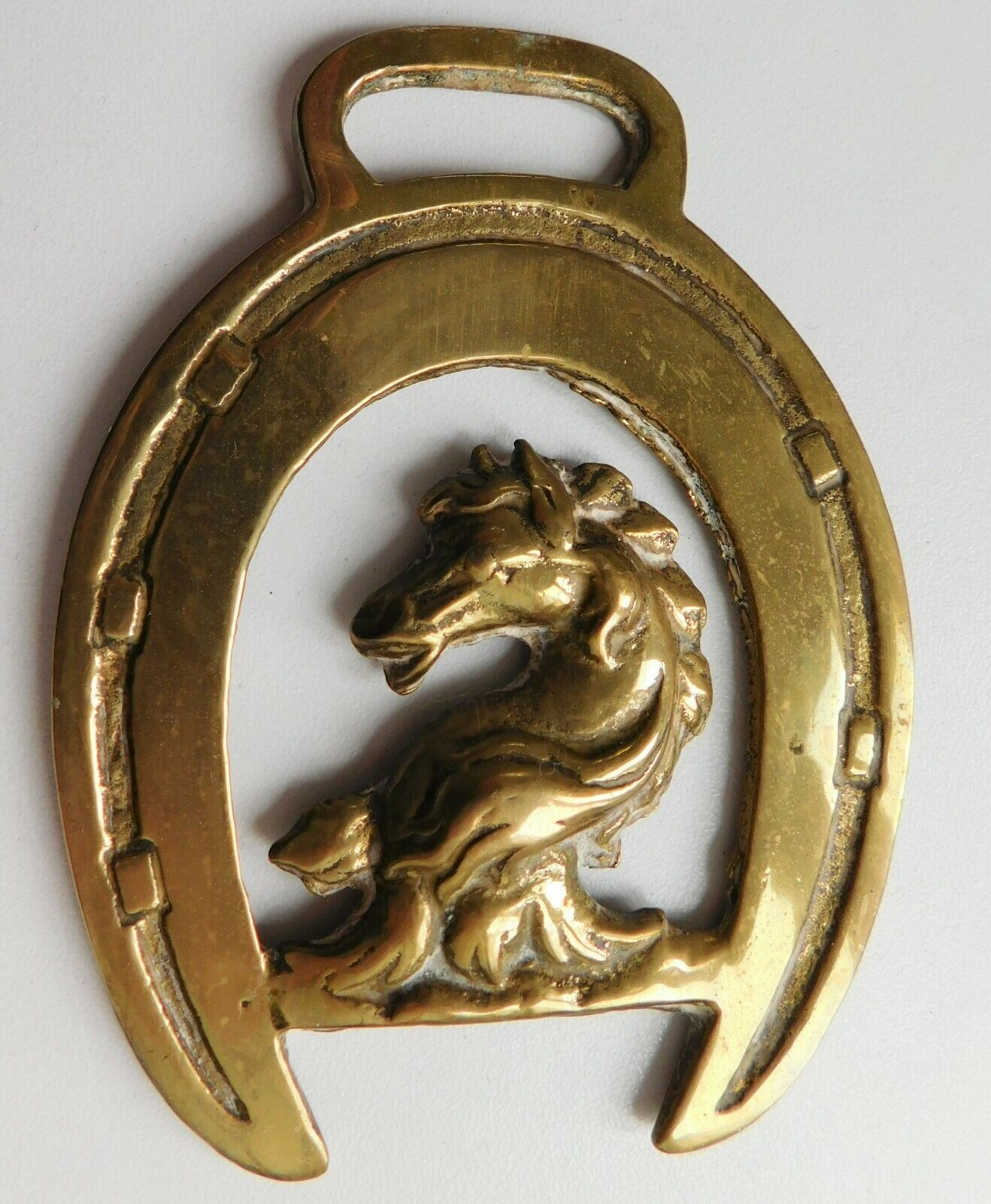 Vintage horse brass horse shoe and head traditional equestrian ornament trapping