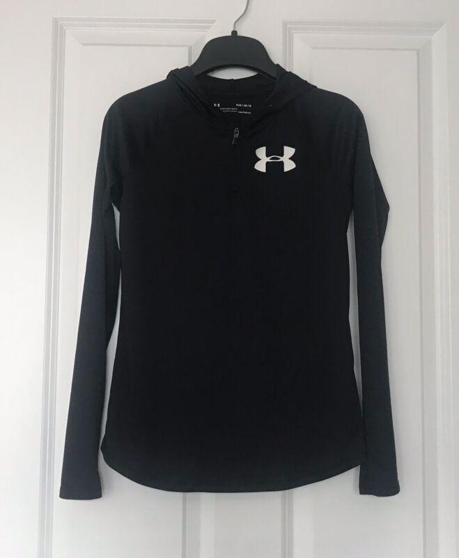 Under Armour Girls Tech 1/4 Zip Hoodie Heat Gear, Black, Size Large