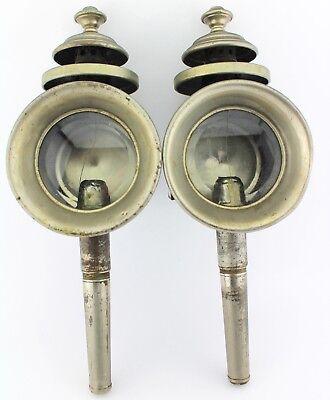 2 Antike Kutschenlampen Glas Kutsche Vieh Wagen Lampe  50 cm 19. JH für Kerzen