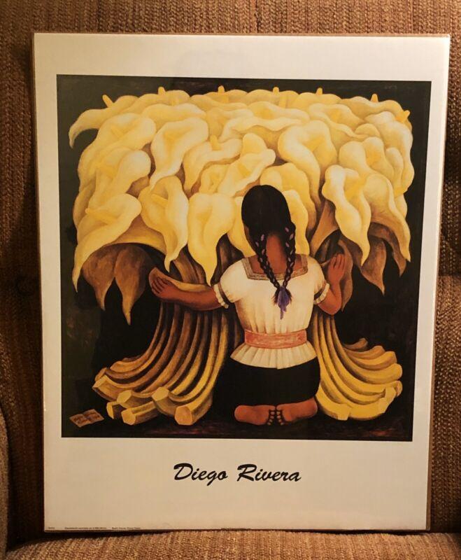 "Diego Rivera Print/Poster Girl Lilies 16"" x 20"" Mexican Art Flower Seller"