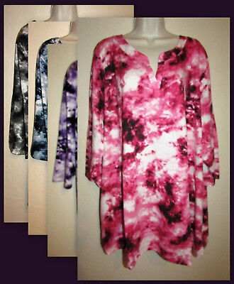 Womans Plus 5X Cotton Blend Notch Neck 3/4 Sleeve Tie Dye Tunic New in Package