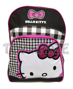 HELLO KITTY! PINK GLITTER BOW BLACK PLAID BACKPACK! 16' LARGE SCHOOL BAG! SANRIO