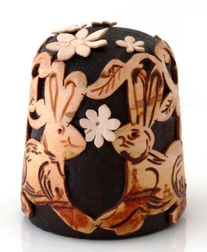 "Bunny Rabbits Hares Birch Bark Wooden Collectible Thimble Handmade 1 1/8"""