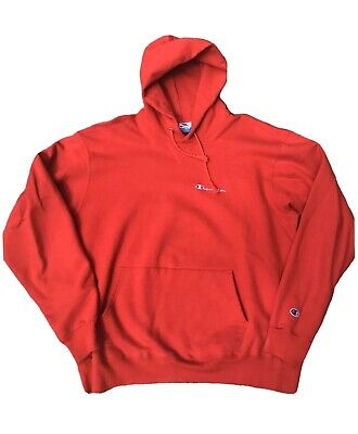 Vtg 90s Champion Hoodie Spellout Red Made in USA Sz XXL (Fits XL) Rare