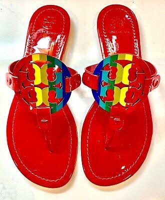 NIB!  Tory Burch Miller Women US 8 Bright Rainbow / Ruby Red Miller Sandals