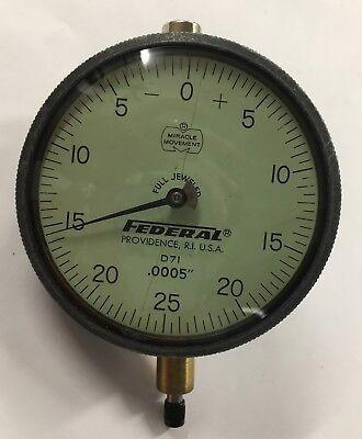 Federal D7i Dial Indicator 0-.125 Range .0005 Graduation With Lug Back