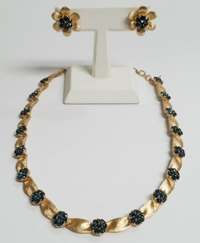 Crown Trifari September Month Sapphire Blue Gold Tone Ribbon Necklace & Earrings