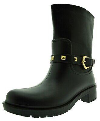 stivali neri donna borchie stivale gomma ed ecopelle fibbia invernale da pioggia