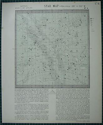 1883 LETTS STAR MAP & CONSTELLATIONS ~ ASTRONOMY SAGITTARIUS HERCULES SERPENS