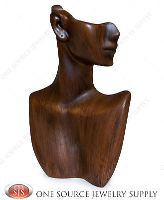 9tall Vintage Wood Finish Pendant Display Stand Bust Mannequin Jewelry Display