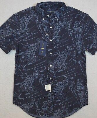 Ralph Lauren Indigo Chambray Button-Front Koi Fish Shirt Slim Fit S & M NWT $99