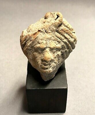 Ancient Greek Terracotta Fragment of Female Head, Hellenistic Period, 3rd-2nd BC