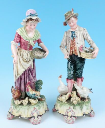 Antique Pair LARGE Austrian Majolica Figurines Couple Feeding Animals Hens Ducks