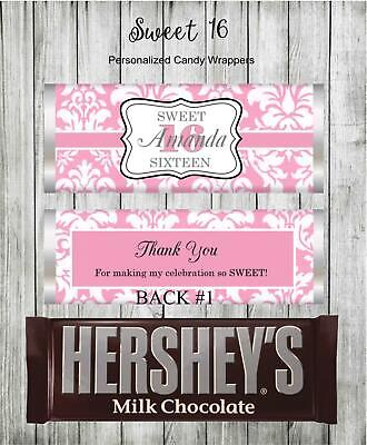 Sweet 16 Birthday Party Favors Pink Candy Bar Wrappers SET of - Sweet 16 Birthday Favors