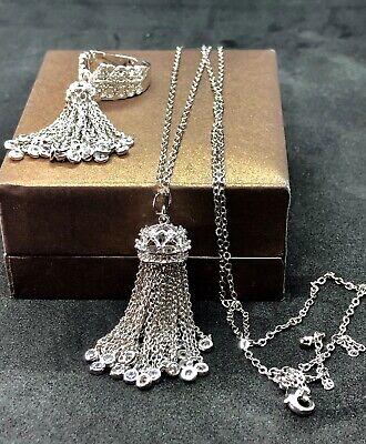18k Platinum Plated Haute Couture Tassel Pendant Necklace w Swarovski Crystal  18k Platinum Necklace