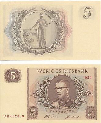 Schweden / Sweden - 5 Kronor 1954 aUNC - Pick 42a