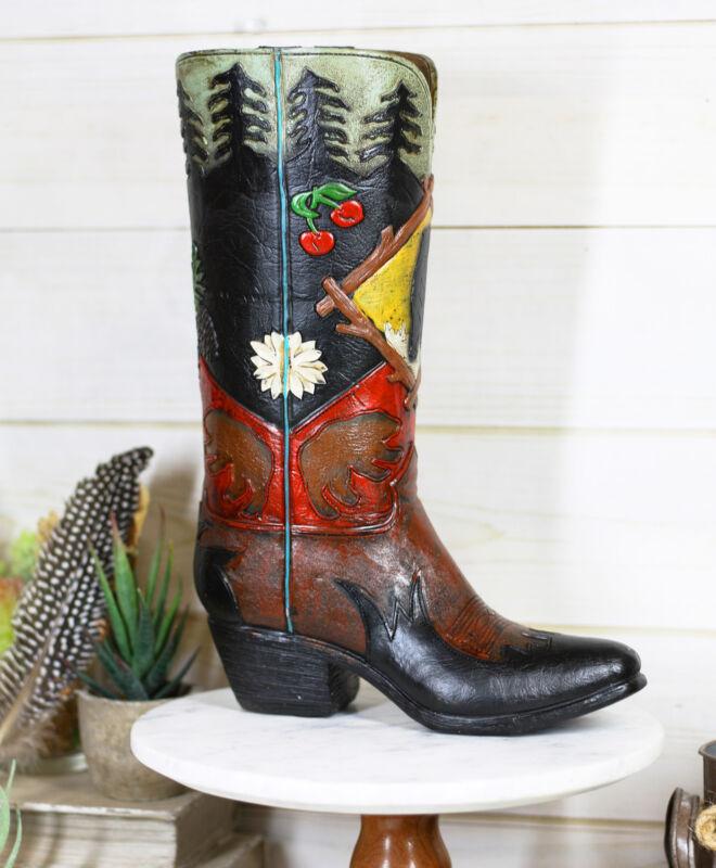 Rustic Country Black Bear Pine Trees Cherries Cowboy Boot Vase Planter Figurine