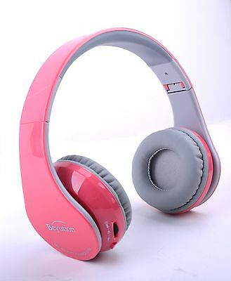 Pink Over-ear Bluetooth Headphones with Mic for all Cell Pho