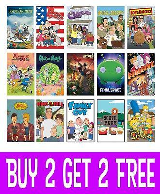 Cartoon TV Shows Posters Wall Art Decor A4 A3 A2 Maxi Top Shows Best Comedy (Best Art Tv Shows)