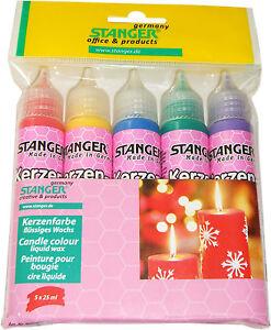 (100ml=5,52EUR) Kerzen Pen 25 ml gelb,rot,grün,blau,violett 5er Set Kerzenfarbe
