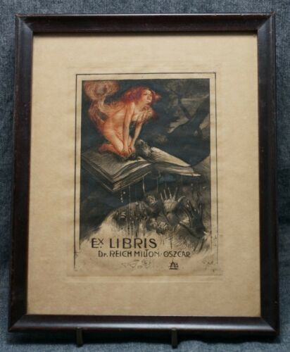 ANTIQUARIAN BOOKPLATE Dr. Milton Oscar Reich - Framed Circa 1910 - EROTIC
