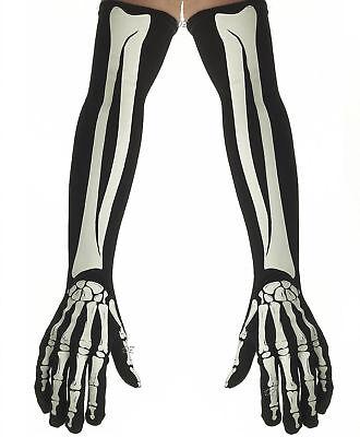 Skeleton Arm Gloves (Skeleton Bones Opera Length Gloves Halloween 23 1/2