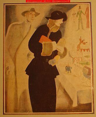 """ART DECO """"Der Junggeselle"""" 4.Jahrg.1922-sign.farbiges Titelblatt u. Passepartout"""